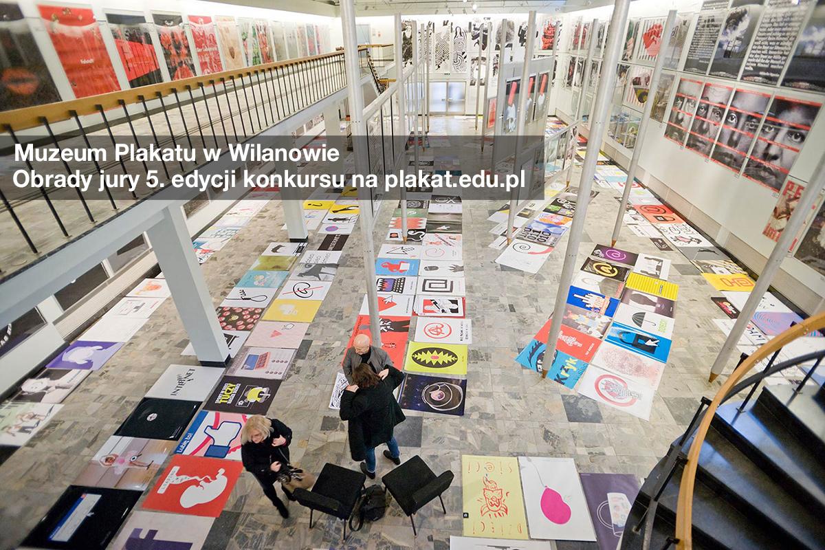 5 edycja konkursu na plakat.edu.pl w Muzeum Plakatu w Wilanowie. Na ścianach plakaty Guntera Rambowa.